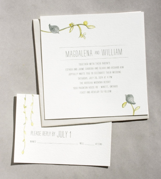 songbird wedding invitation by sweet penelope
